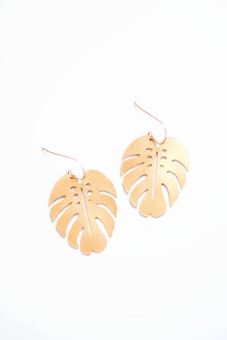 Monstera Leaf Earrings | Monstera Earrings | Brass Earrings | 14k Gold Fill Earrings | Sterling Silver Earrings | Palm Leaf Earrings