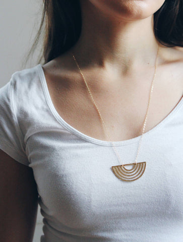 Half Moon Rainbow Necklace | Brass Necklace | Long Necklace | Geometric Necklace | Half Moon Necklace | Sterling Silver | Hammered Necklace