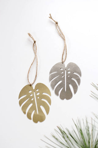 Monstera Leaf Ornament | Monstera Ornament | Metal Ornament | Brass Ornament | Plant Ornament | Wood Ornament | Christmas Stocking Stuffer