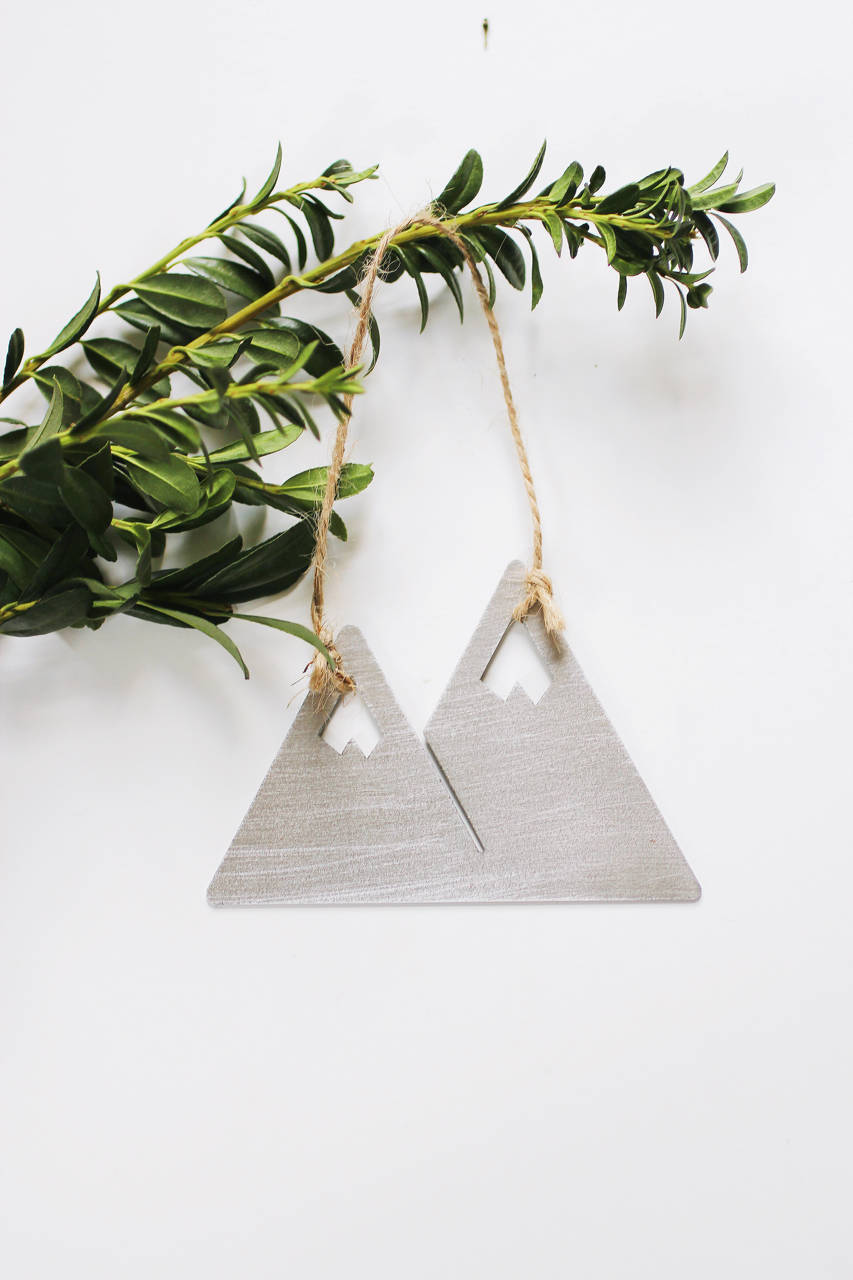 Mountains Ornament | Metal Ornament | Brass Ornament | Steel Ornament | Tree Ornament | Christmas Stocking Stuffer | Mountain Decor | Wood