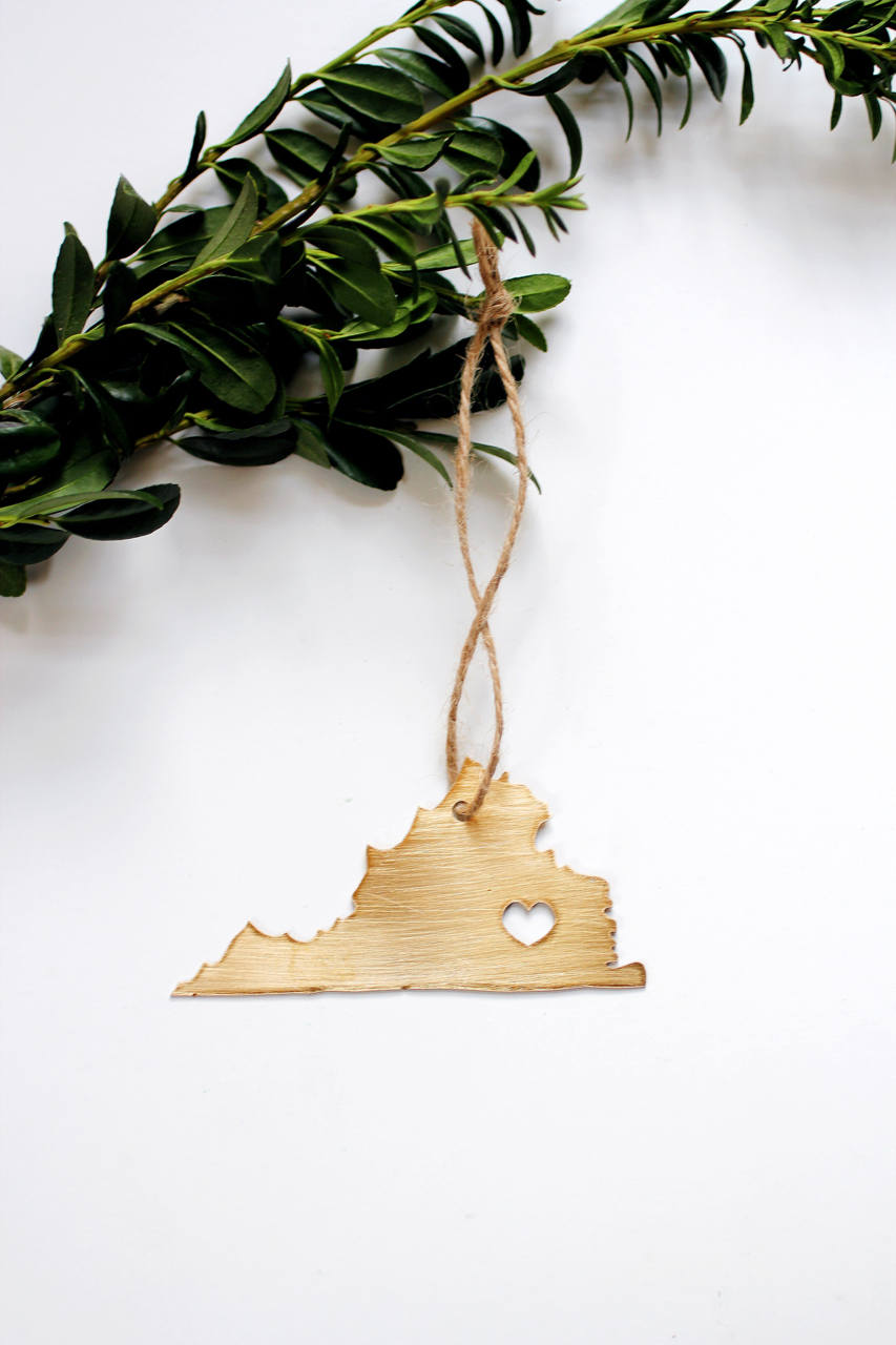 Virginia State Ornament | Virginia Ornament | Brass Home Decor | Brass Ornament | Metal Ornament | Wood Ornament | Steel Ornament