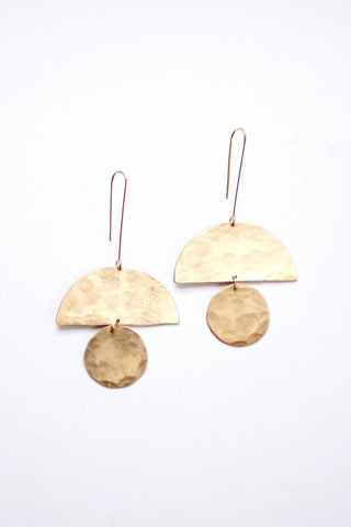 Geometric Totem Shape Earrings | Geometric Earrings | Totem Earrings | Statement Earrings | Statement Jewelry | Brass Earrings