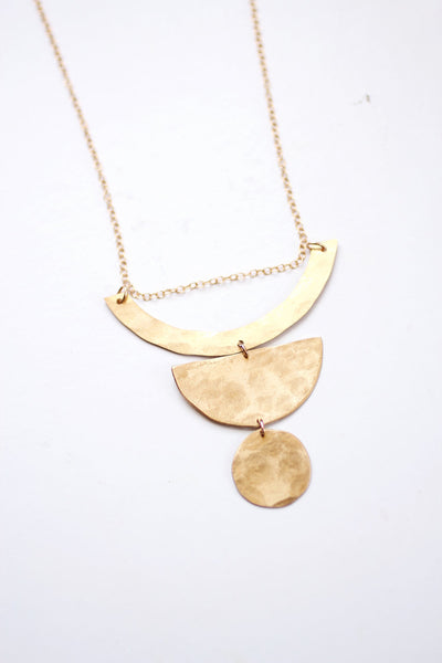 Geometric Totem Shape Necklace | Totem Necklace | Geometric Necklace | Long Necklace | Brass Necklace | Statement Necklace