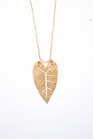 Heart Leaf Necklace | Tropical Necklace | Nature Necklace | Long Necklace | Brass Necklace | Nature Jewelry | Plant Jewelry | Plant Necklace