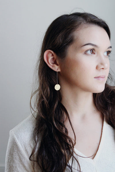 Modern Circle Drop Earrings | Modern Earrings | Circle Earrings | Minimalist Earrings | Geometric Jewelry | Brass Earrings