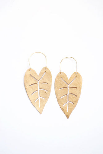 Heart Leaf Hoop Earrings | Tropical Earrings | Leaf Earrings | Statement Earrings | Statement Jewelry | Brass Gold Earrings | Brass Earrings