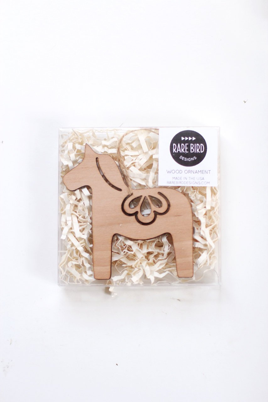 Dala Horse Ornament | Metal Ornament | Brass Ornament | Steel Ornament | Wood Ornament | Tree Ornament | Christmas Stocking Stuffer