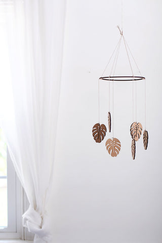 Wooden Monstera Leaf Mobile | Nursery Decor | Crib Mobile | Home Decor | Palm Leaf | Wood Mobile | Baby Room