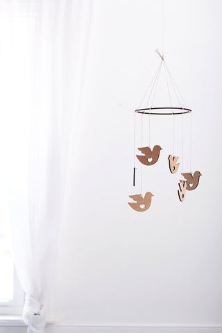 Wooden Dove Bird Mobile | Nursery Decor | Crib Mobile | Home Decor | Palm Leaf | Wood Mobile | Baby Room | Scandinavian Decor