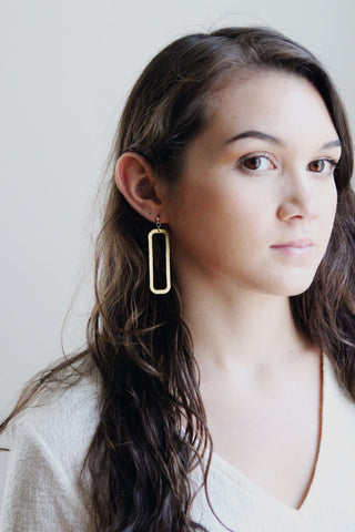 Rectangle Drop Earrings | Rectangle Earrings | Geometric Earrings | Statement Earrings | Statement Jewelry | Minimalist Earrings