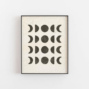 Moon Phases Wall Art Print - Black on Cream | Moon Wall Art | Moon Phases Art Print | Minimalist Art | Black Art | 5x7 8x10 11x14 16x20