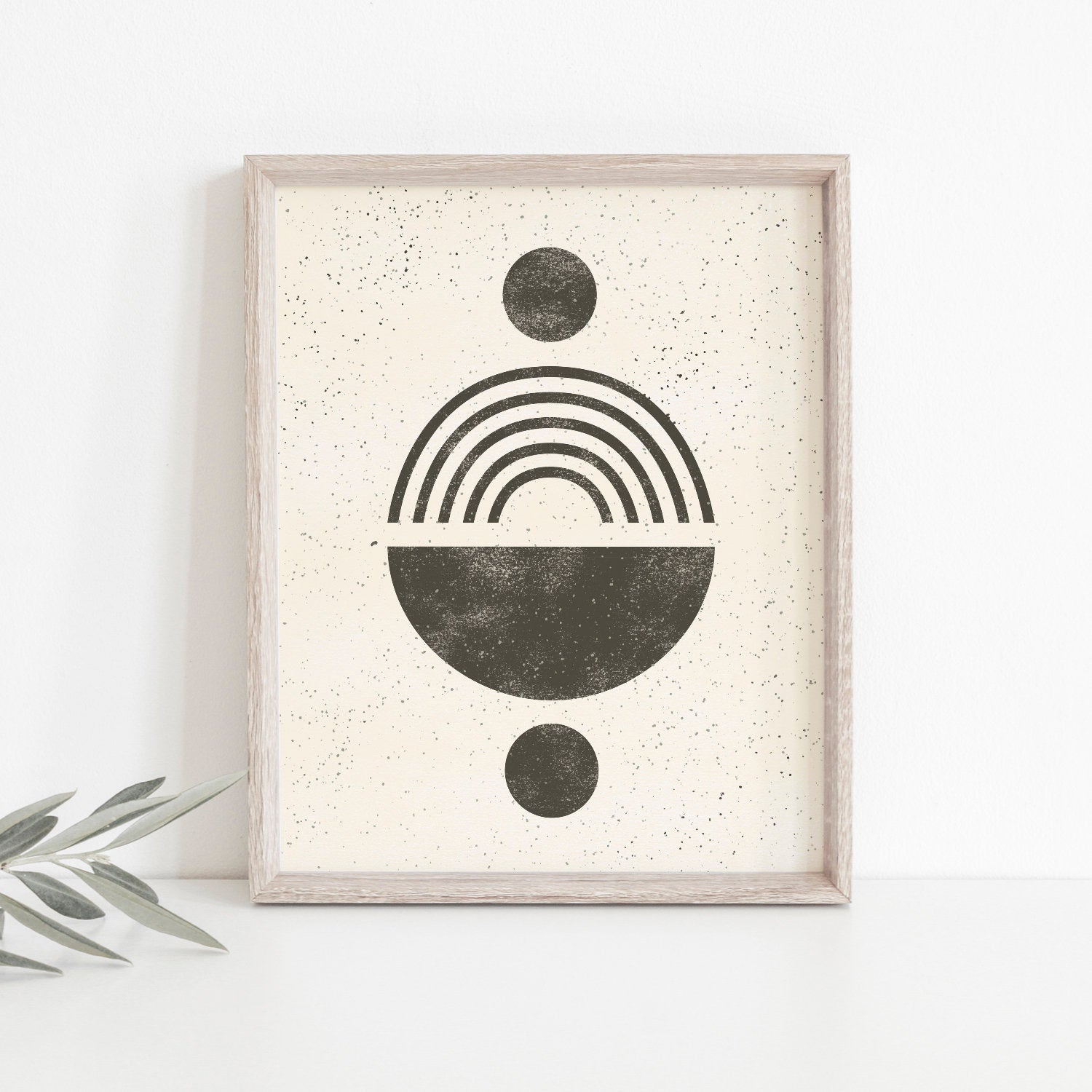 Totem Shapes Wall Art Print - Black on Cream | Modern Wall Art | Geometric Art Print | Minimalist Art | Black Art | 5x7 8x10 11x14