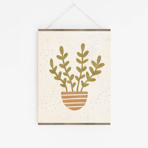 Plant Terracotta Striped Pot Wall Art Print | Plant Wall Art | Plant Art | Plant Illustration | Minimalist Art | 5x7 8x10 11x14 16x20