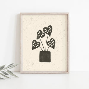 Monstera Plant Wall Art Print | Monstera Art | Plant Art | Plant Illustration | Black Art | Boho Art | 5x7 8x10 11x14 16x20