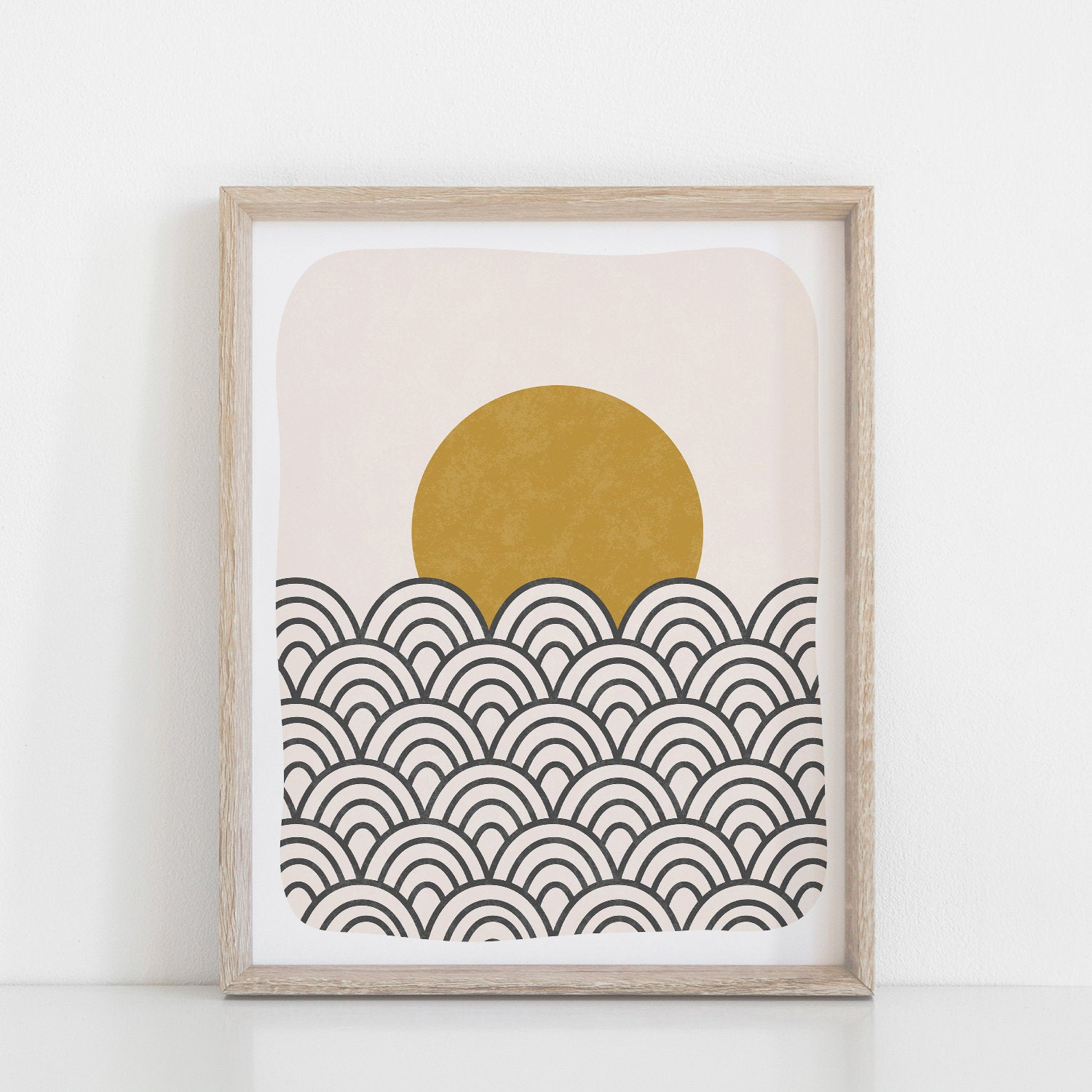 Waves & Sun Art Print - Black Ochre | Waves Art | Sun Art | Wall Art | 8x10 Print | 11x14 Print | Minimalist Art | Geometric Art