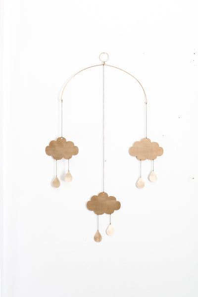 Rain Cloud Brass Mobile | Metal Mobile | Brass Wall Hanging | Wall Decor | Home Decor | Metal Wall Hanging | Nursery Mobile | Crib Mobile