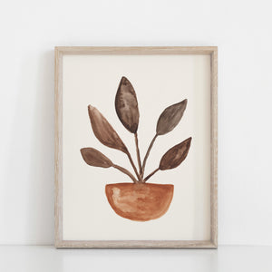 Sprounted Plant Wall Art Print - Terracotta Brown | Nature Art | Watercolor Art | Terracotta Art | Botanical Art | 5x7 8x10 11x14 16x20