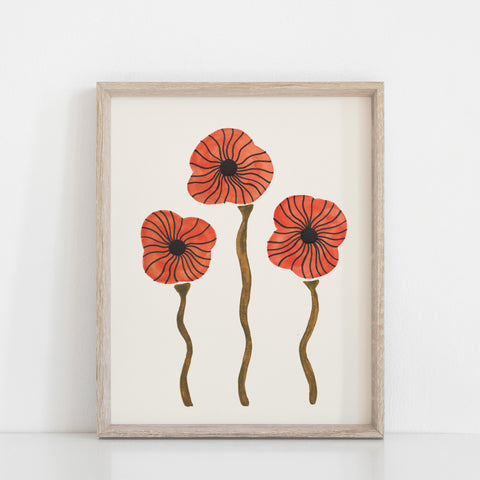 Poppies Wall Art Print | Nature Art | Watercolor Art | Red Art | Orange Art | Floral Art | Botanical | Poppy Art | 5x7 8x10 11x14 16x20