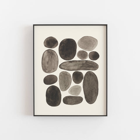 Black Pebbles Wall Art Print | Nature Art | Watercolor Art | Pebble Art | Black Art | Abstract Art | Modern Art | 5x7 8x10 11x14 16x20
