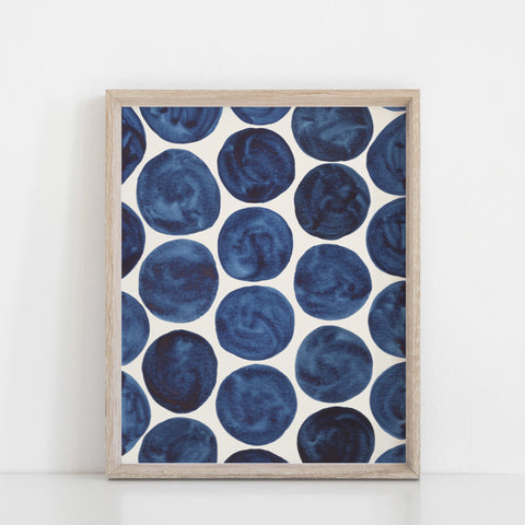 Blue Dots Pattern Wall Art Print  | Watercolor Art | Geometric Art | Pattern Art | Indigo Art | Blue Art | 5x7 8x10 11x14