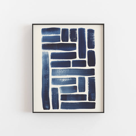 Blue Strokes Pattern Wall Art Print  | Watercolor Art | Geometric Art | Pattern Art | Indigo Art | Blue Art | 5x7 8x10 11x14
