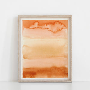Desert Sunset Wall Art Print | Nature Art | Watercolor Art | Rust Art | Landscape Art | Abstract Art | Modern Art | 5x7 8x10 11x14 16x20