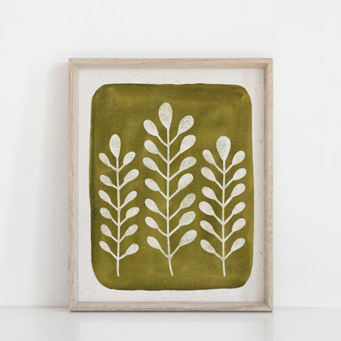 Mod Ferns Wall Art Print - Green | Nature Art | Watercolor Art | Green Art | Leaves Art | Block Print | Botanical | 5x7 8x10 11x14