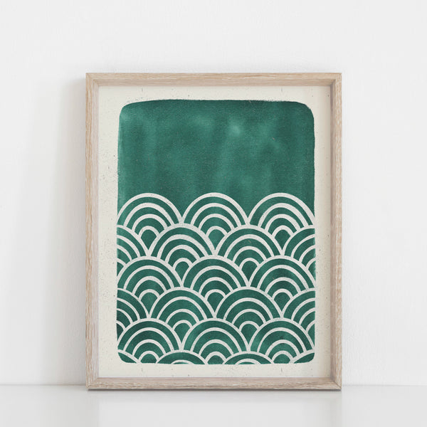 Scallop Waves Wall Art Print - Teal Blue Green | Water Art | Watercolor Art | Blue Art | Block Print | Ocean Art | 5x7 8x10 11x14