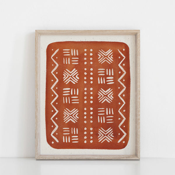 Mud Cloth Pattern Wall Art Print - Rust | Pattern Art | Watercolor Art | Red Art | Block Print | Geometric Art | Rust Art | 5x7 8x10 11x14