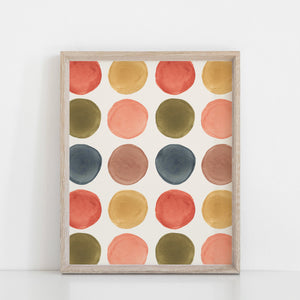 Watercolor Dots Wall Art Print | Watercolor Art | Rainbow Art | Kids Art | Vintage Art | Midcentury Art | 5x7 8x10 11x14 16x20