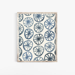 Watercolor Wheel Pattern Wall Art Print - Indigo | Watercolor Art | Geometric Art | Pattern Art | Indigo Art | Blue Art | 5x7 8x10 11x14