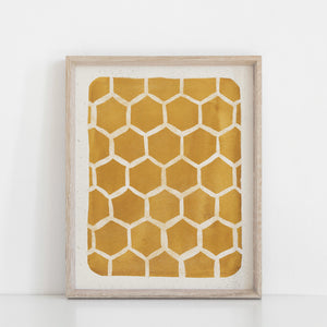 Honeycomb Pattern Wall Art Print - Gold | Honeycomb Art | Watercolor Art | Block Print | Geometric Art | Mustard Art | 5x7 8x10 11x14