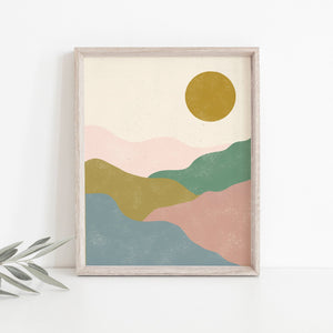 Hill Landscape Wall Art Print - Multicolor | Mountain Wall Art | Nature Art Print | Modern Art | Mid Century Art | Minimalist Art | 5x7 8x10