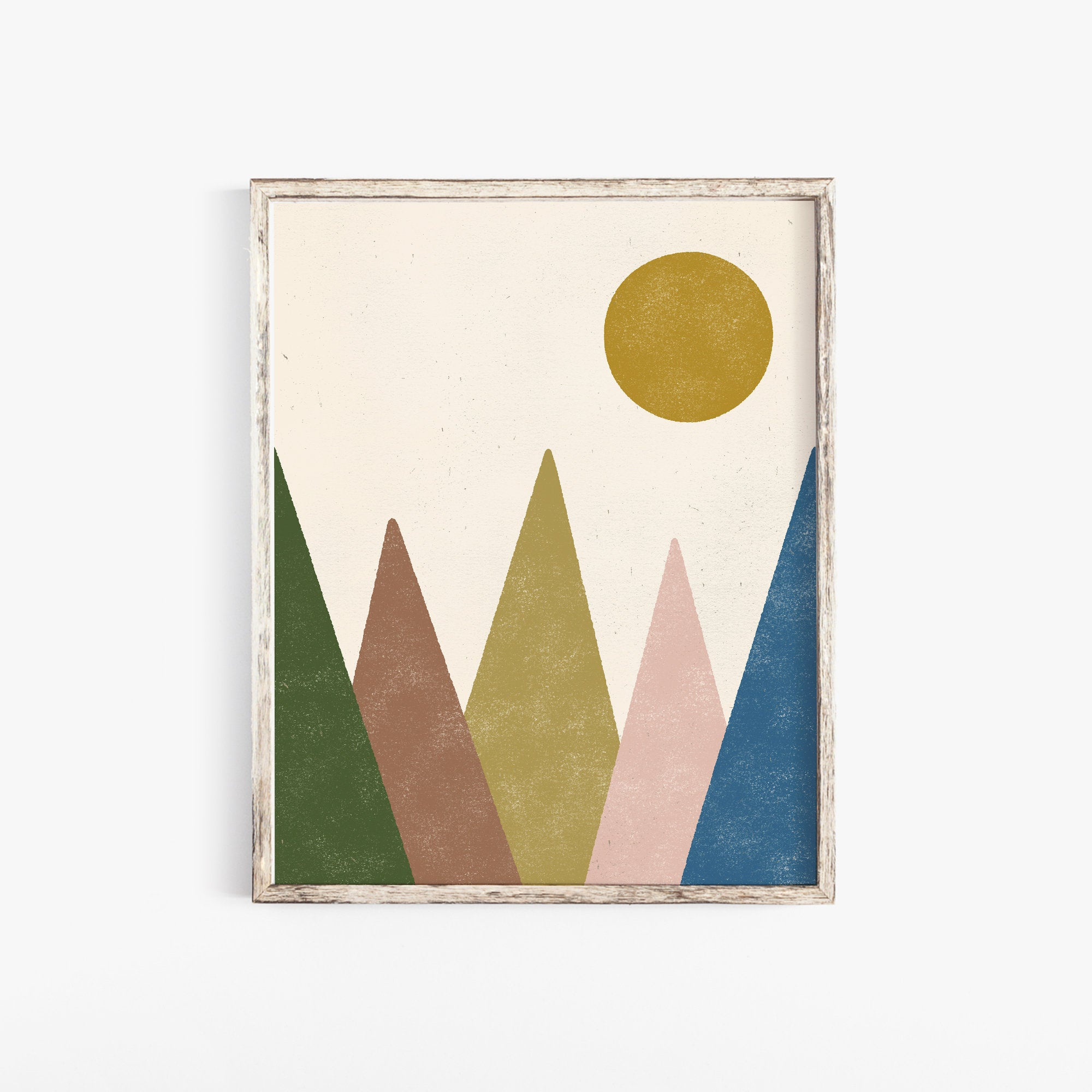 Mountain Landscape Wall Art Print - Multicolor | Mountain Wall Art | Modern Art | Mid Century Art | Minimalist Art | 5x7 8x10