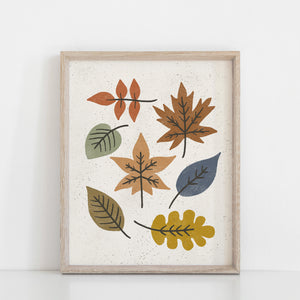 Autumn Leaves #1 Wall Art Print - Multicolor | Leaves Wall Art | Nature Art Print | Modern Art | Mid Century Art | Minimalist Art | 5x7 8x10