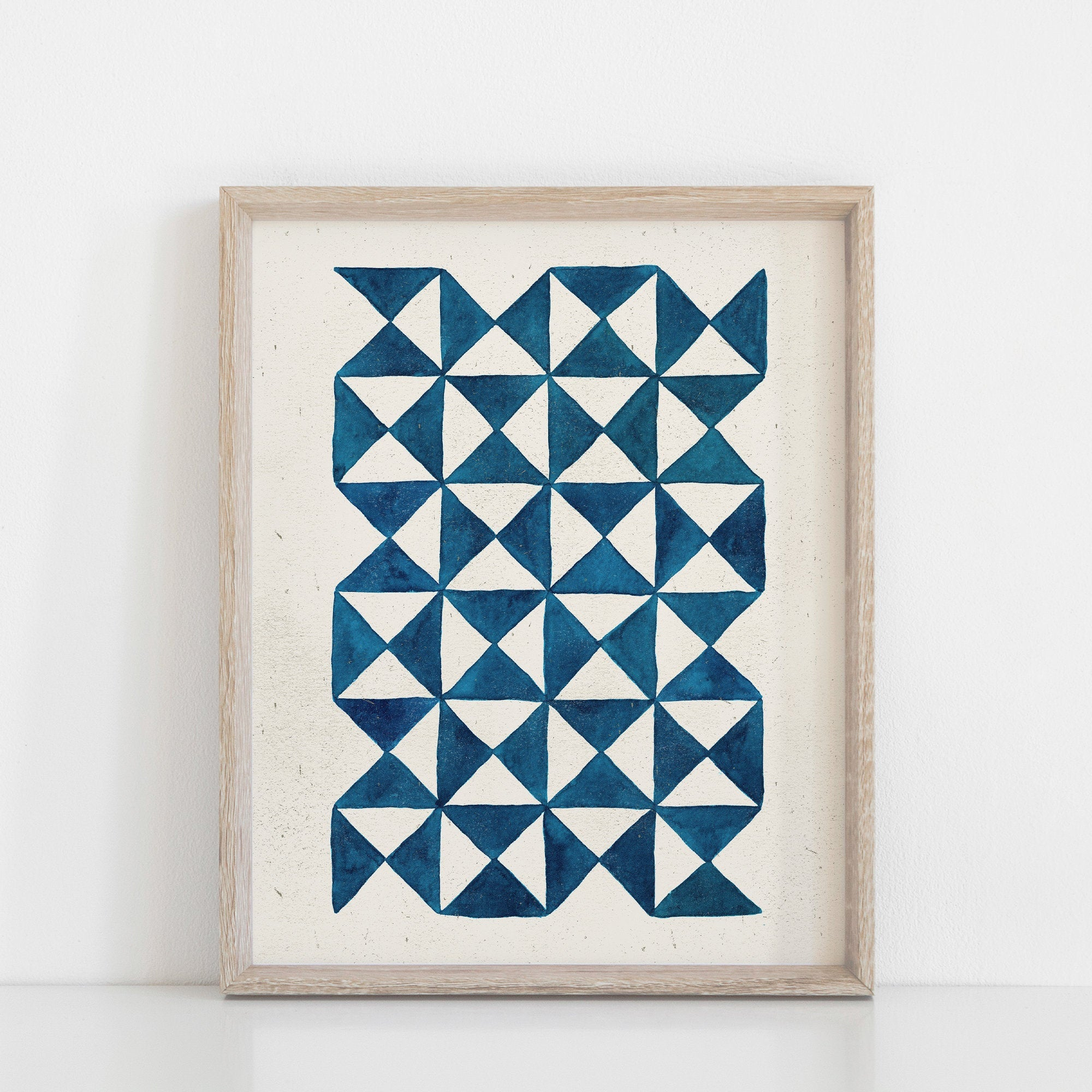 Watercolor Pinwheel Quilt Wall Art Print - Blue | Geometric Wall Art | Blue Art Print | Watercolor Art Print | Minimalist Art | 5x7 8x10
