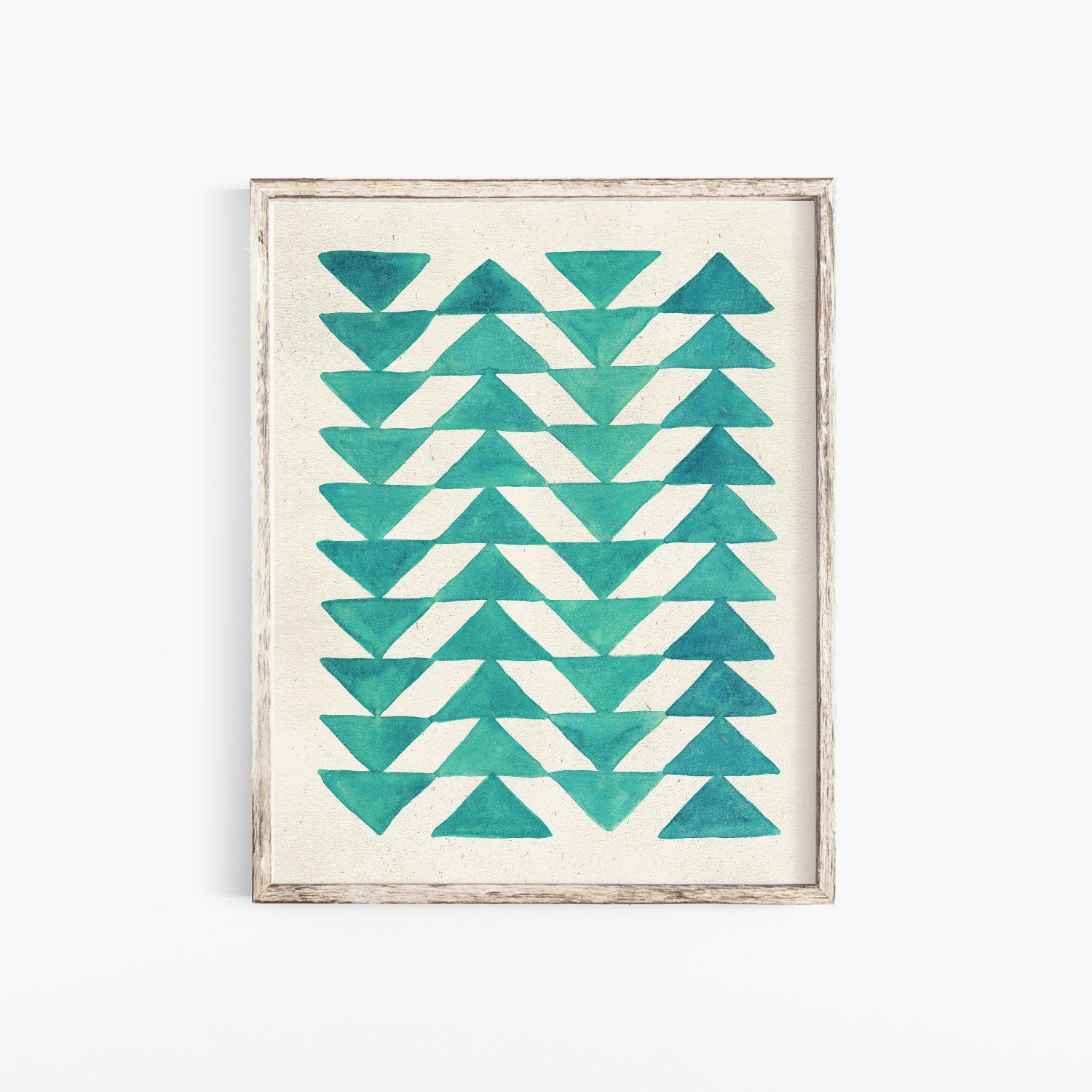 Triangle Arrow Quilt Wall Art Print - Turquoise | Geometric Wall Art | Turquoise Wall Art | Watercolor Art Print | Minimalist Art | 8x10