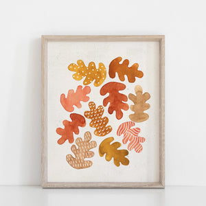 Watercolor Oak Leaves Wall Art Print - Multicolor | Leaves Wall Art | Nature Art Print | Watercolor Art | Watercolor Painting | 5x7 8x10