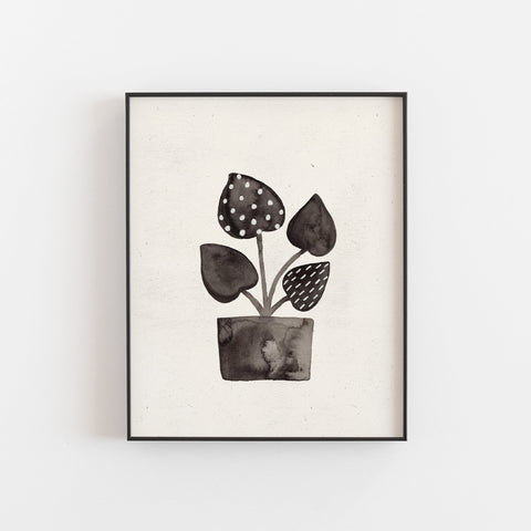 Ink Plant Wall Art Print - Black + Cream | Plant Wall Art | Nature Art Print | Ink Art | Watercolor Art | Minimalist Art | 5x7 8x10