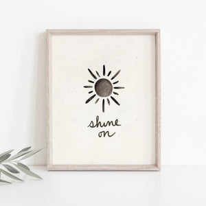 Shine on Sun Wall Art Print - Black + Cream | Modern Wall Art | Minimalist Art Print | Sun Art | Sunshine Art | Watercolor Sun | 5x7 8x10