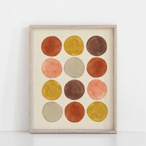 Watercolor Dots Wall Art Print - Rust + Ochre | Geometric Wall Art | Watercolor Art Print | Minimalist Art | Circle |  5x7 8x10 11x14