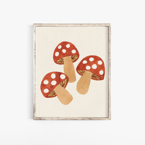 Mushroom Wall Art Print | Watercolor Art Print | Minimalist Art | Nature Wall Art | Mushroom Art Print | Plant Art | 5x7 8x10 11x14