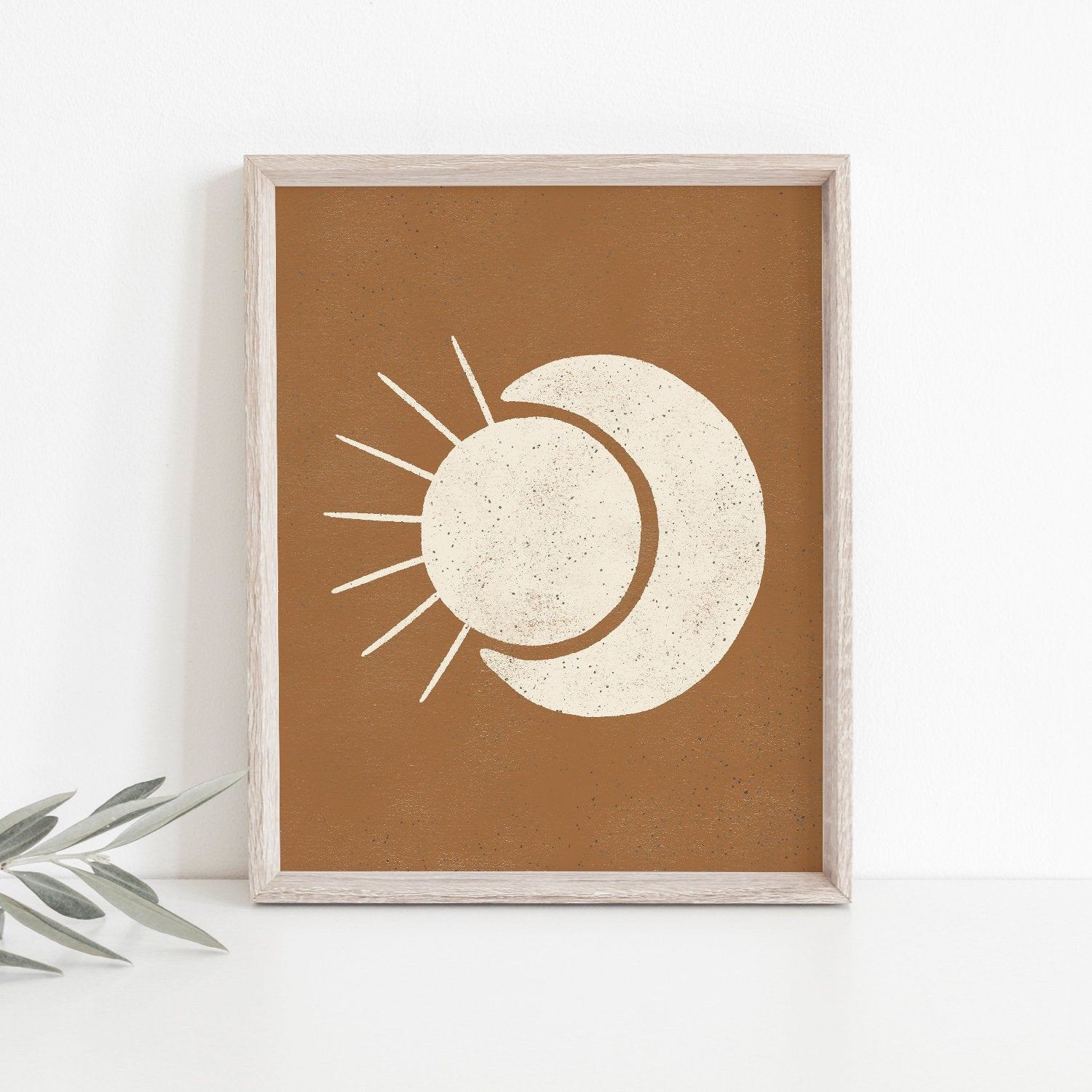 Sun Moon Wall Art Print - Terracotta + Cream | Minimalist Art | Moon Art | Sun Art | Terracotta Art | Earthy Art | 5x7 8x10 11x14