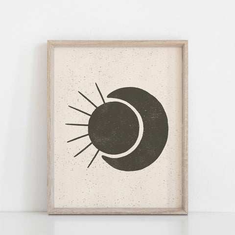 Sun Moon Wall Art Print - Black + Cream | Minimalist Art | Moon Art | Sun Art | Black and White | Earthy Art | 5x7 8x10 11x14