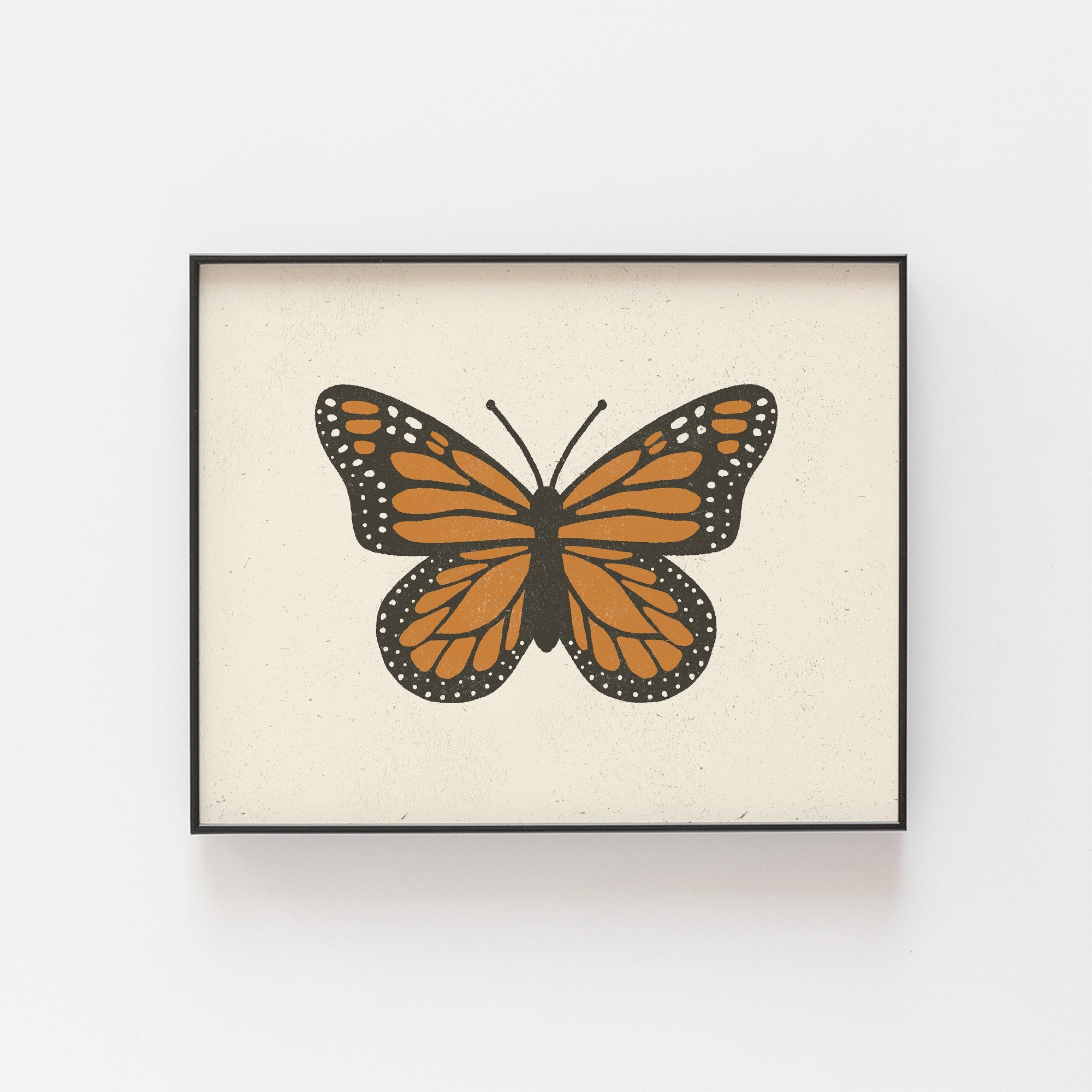 Monarch Butterfly Wall Art Print | Minimalist Art | Monarch Art | Butterfly Art | Vintage Art | Nature Art | 5x7 8x10 11x14