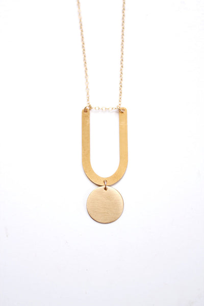 Minimalist U Circle Drop Necklace | Minimalist Necklace | Modern Necklace | Long Necklace | Brass Necklace | Circle Necklace | Shape Jewelry