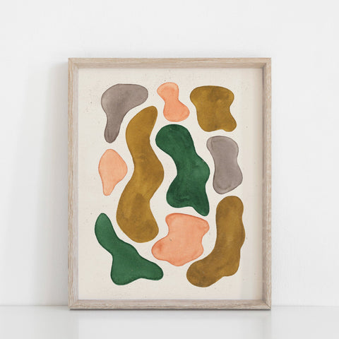 Watercolor Blobs Wall Art Print - Pink, Emerald, Ochre | Minimalist Art | Modern Art | Vintage Art | Retro Art | Earthy Art | 5x7 8x10 11x14