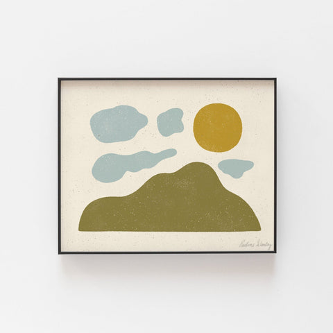 Mountain Cloud Sun Wall Art Print | Minimalist Art | Modern Art | Landscape Art | Nature Art | Midcentury Art | 5x7 8x10 11x14