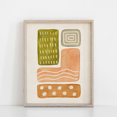 Watercolor Shapes Wall Art Print - Pink, Moss, Terracotta | Minimalist Art | Modern Art | Abstract Art | Earthy Art | 5x7 8x10 11x14