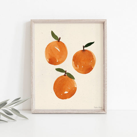 Watercolor Oranges Wall Art Print | Minimalist Art | Modern Art | Watercolor Art | Earthy Art | Food Art | Fruit Art | 5x7 8x10 11x14